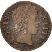 France, Louis XIV, Denier tournois, 1649/2, Paris, TB+, Cuivre, CGKL:552