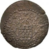Spain, CATALONIA, Louis XIII, Seiseno, 1642, Girona, VF(30-35), Copper, KM:82