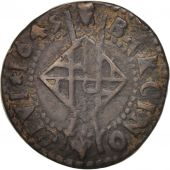 Spain, CATALONIA, Louis XIV, Seiseno, 1645, Barcelona, VF(20-25), Copper, KM:27