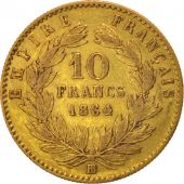France, Napoleon III, 10 Francs, 1864, Strasbourg, Grand BB, TB+, Or