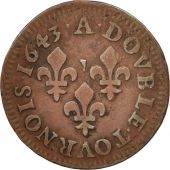 France, Louis XIII, Double tournois, 1643, Corbeil, TTB, Cuivre, CGKL:516A