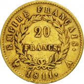 France, Napoléon I, 20 Francs, 1811, Paris, TTB, Or, KM:695.1, Gadoury:1025
