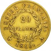 France, Napoléon I, 20 Francs, 1810, Paris, TTB, Or, KM:695.1, Gadoury:1025