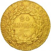 France, 24 livres Convention, 1793, Paris, EF(40-45), Gold, KM:626.1
