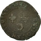 France, Henri III, Double Tournois, 1585, Grenoble, VF(30-35), Copper, CGKL:140a