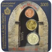 San Marino, Set, 2 cents, 20 cents, 2 euro, 2005, St. Francis Gate, FDC