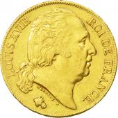 France, Louis XVIII, 20 Francs, 1819, Paris, AU(55-58), Gold, KM:712.1
