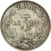 South Africa, 3 Pence, 1897, AU(55-58), Silver, KM:3