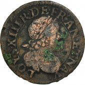 France, Louis XIII, Double Tournois, 1639, Rouen, TB, Cuivre, CGKL:434