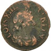 France, Louis XIII, Double Tournois, 1638, Rouen, F(12-15), Copper, CGKL:434