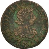 France, Louis XIII, Double Tournois, 1638, Troyes, TB+, Cuivre, CGKL:504