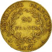 France, Napoléon I, 20 Francs, An XI, 1803, Paris, TTB, Or, KM:651, Gadoury:1020
