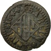 Spain, CATALONIA, Louis XIV, Ardite, 1644, Barcelona, VF(30-35), Copper, KM:100
