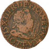 Coin, France, Louis XIII, Double Tournois, 1613, Nantes, VF(20-25), Copper
