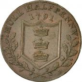 Coin, Great Britain, Yorkshire, Halfpenny Token, 1791, Hull, AU(50-53), Copper