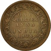 INDIA-BRITISH, Edward VII, 1/4 Anna, 1908, Calcutta, EF(40-45), Bronze, KM:502