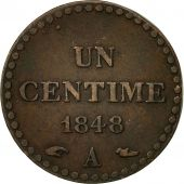 France, Dupré, Centime, 1848, Paris, AU(50-53), Bronze, KM:754