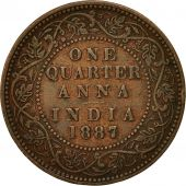 INDIA-BRITISH, Victoria, 1/4 Anna, 1887, EF(40-45), Copper, KM:486