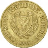 Chypre, 20 Cents, 1989, TTB, Nickel-brass, KM:62.1