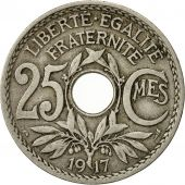 France, Lindauer, 25 Centimes, 1917, TTB, Copper-nickel, KM:867a, Gadoury:380