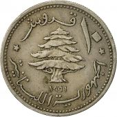 Lebanon, 10 Piastres, 1961, TB+, Copper-nickel, KM:24