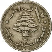 Lebanon, 10 Piastres, 1961, TB, Copper-nickel, KM:24