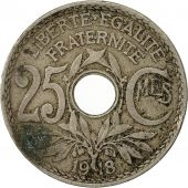 France, Lindauer, 25 Centimes, 1918, VF(20-25), Copper-nickel, KM:867a