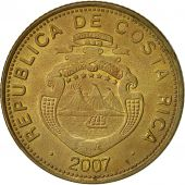 Costa Rica, 100 Colones, 2007, EF(40-45), Brass plated steel, KM:240a