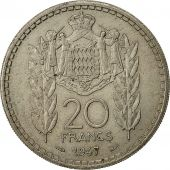 Monaco, Louis II, 20 Francs, Vingt, 1947, Poissy, AU(50-53), Copper-nickel