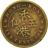 Coin, Hong Kong, George VI, 5 Cents, 1949, VF(20-25), Nickel-brass, KM:26