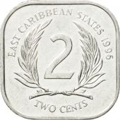 Coin, East Caribbean States, Elizabeth II, 2 Cents, 1996, EF(40-45), Aluminum