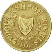 Coin, Cyprus, 2 Cents, 1991, EF(40-45), Nickel-brass, KM:54.3