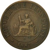 Monnaie, FRENCH INDO-CHINA, Cent, 1887, Paris, TTB, Bronze, KM:1