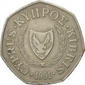 Coin, Cyprus, 50 Cents, 1991, EF(40-45), Copper-nickel, KM:66
