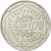 France, 10 Euro, Centre, 2010, MS(64), Silver, KM:1650