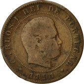 Coin, Portugal, Carlos I, 10 Reis, 1891, Portugal Mint, Paris, VF(20-25)