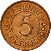 Coin, Mauritius, 5 Cents, 1990, EF(40-45), Copper Plated Steel, KM:52