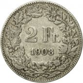 Coin, Switzerland, 2 Francs, 1908, Bern, EF(40-45), Silver, KM:21