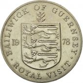 Coin, Guernsey, Elizabeth II, 25 Pence, 1978, Heaton, AU(50-53), Copper-nickel