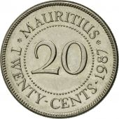 Coin, Mauritius, 20 Cents, 1987, AU(50-53), Nickel plated steel, KM:53