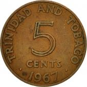 Coin, TRINIDAD & TOBAGO, 5 Cents, 1967, Franklin Mint, VF(30-35), Bronze, KM:2
