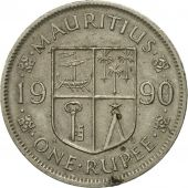 Coin, Mauritius, Rupee, 1990, VF(30-35), Copper-nickel, KM:55