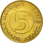 Coin, Slovenia, 5 Tolarjev, 2000, MS(60-62), Nickel-brass, KM:6