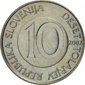 Coin, Slovenia, 10 Tolarjev, 2002, AU(55-58), Copper-nickel, KM:41