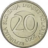 Coin, Slovenia, 20 Tolarjev, 2003, Kremnica, AU(55-58), Copper-nickel, KM:51