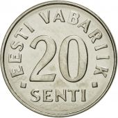 Monnaie, Estonia, 20 Senti, 2006, no mint, SPL, Nickel plated steel, KM:23a