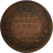 Coin, INDIA-BRITISH, Edward VII, 1/4 Anna, 1906, Calcutta, EF(40-45), Bronze