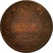 Coin, INDIA-BRITISH, Edward VII, 1/4 Anna, 1907, Calcutta, EF(40-45), Bronze