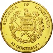 Guatemala, 10 Quetzales, 1995, Tower, SPL, Gilt Alloy, KM:2b.1