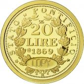 France, Medal, Pie IX, Reproduction 20 Lire 1869, FDC, Or